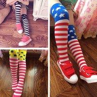 Wholesale 2015 NEW Fashion girl US flag long socks Baby Girl stripes stars tube socks over knee high kids leg warmer colors available