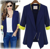 Wholesale 2015 Fashion Women Blazer Slim Large Size Ladies Small Suit Jacket And Long Sections Of Blue