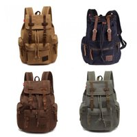 Wholesale Men Women s Vintage Canvas Backpack Rucksack Satchel School Bag Hiking Bag
