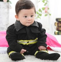 baby pilot jacket - baby romper coats footcover pilot fire fighter rompers truckman costume jackets overall warmmer baby outfits D86