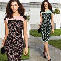 Vestido de renda Hot Sale New Floral Verão Mulheres O-Neck manga curta Túnica Patchwork vestido na altura do joelho Vestido justo Mulheres SML XL