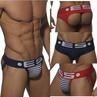 Wholesale 4pcs Mens Sexy Jockstraps Jock straps Thongs G Strings Hot Cotton Brand ES ADDICTED Mens Underwear Fashion Design Penis Pouch