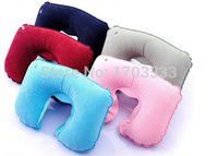 Wholesale 500pcs Travel air pillow inflatable pillow flock pillow New u shaped neck pillow