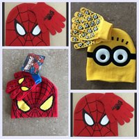 Wholesale 3 color Spider man minions hat scarf times for year kids boy girl cute cartoon warm thicken glove christmas gift sets topB1214 sets