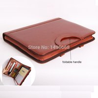 Wholesale a4 business zipper leather manager bag expanding file folder holder organizer with handle calculator office conference A
