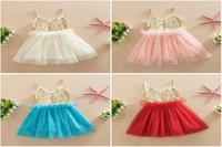 Wholesale Best New Baby Girls Summer corset Sequin Tulle Princess Dresses Children Cute Lace Ruffle Tutu Evening party vest Dress Kids Clothes
