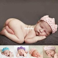 Wholesale 10PCS Newborn Baby Girl Boy Crochet Knit Prince Crown Headband Hats Hair Accessories toycity