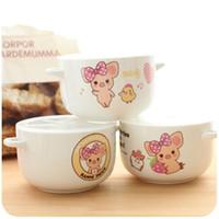Wholesale Korean cute cartoon creative ceramic bowl bowl instant noodles bowl with soup dessert bowl bowl tableware cover