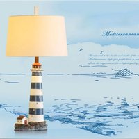 baroque style decor - Bourgie Baroque Milan Style Table Lamp Resin Lighthouse Stand Cloth Lampshade Home Lights Decor Desk Light Mediterranean Design order lt no