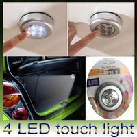 Armarios niños España-Mini 4 luces LED Touch lámpara baterías Powered Touch Stick en luz de la noche para la tienda de coches Bike Wardrobe portátil de luz para niños