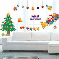al por mayor etiquetas en las ventanas de navidad-2014 más nuevo ShineLi extraíble de Navidad de Santa del árbol de Navidad etiquetas en las ventanas de pared Decoración shippingWholesales gratis