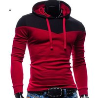Wholesale Mens Hooded Hoodie Sports Hoody Fleece Pullover Slim Fit Sweatshirt Sweats Coat Thickening Color Matching Overcoat Outerwear Hoodies