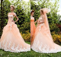 Adults bh shipping - Peach Wedding Gowns White Lace Appliqued Ruched Handmade Floral Beaded Spring Garden Bridal Dresses BH