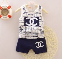 Wholesale Baby Boys Set Summer Children s Sleeveless Vest T shirt Shorts Boy s Casual Sets Outfits Kids Clothing Colors sets L550