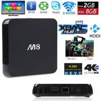 Wholesale M8 TV BOX Amlogic S802 Quad Core G G K Video G WIFI XBMC Gotham Android Kitkat Smart TV Box XBMC KODI Loaded K Miracast