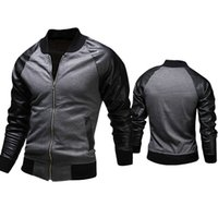 100% leather jackets - Men Baseball Jacket Leather Patchwork Coat For Men New Spring Personalized Cotton Casual Jacket High Quality Plus Size