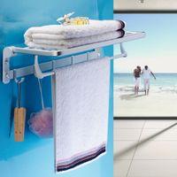 aluminum towel bar - Multifunctional Bathroom Towel Rack Space saving Wall mounted Bath Towel Holder Aluminum Towel Bar Bathroom Storage Accessories