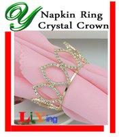 rhinestone napkin ring - Diamond rhinestone Napkin Rings gold Napkin Ring wedding napkin holder Christmas Decoration table dinnerware crystal crown ring for napkin