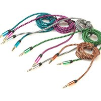 Wholesale 3 mm Audio Aux Fabric Braided Cable Male Male For iPhone S S HTC Xiaomi Samsung Car Extension Line M FT