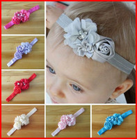 baby rose flowers - Hot Sale Infant Baby Hair Accessories Rose Flower Pearl Combination Girls Hair Band Kids Headband Babies Toddler Head Band Mix Colour