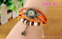 Wholesale DHL New fashion vintage leather Watch hand knit casual women bracelet watch quartz watches DIY