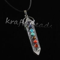 Wholesale Charm Silver Plated Natural Rock Crystal Quartz Hexagon Shape Stone Beads Chakra Healing Point Pendulum Pendant Jewelry