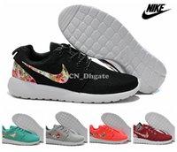 Nike Roshe Run Floral De La Flor Swoosh Negro, Gris, Rojo, Naranja, Verde Azulado A Las Mujeres De Los Hombres Zapatillas De Deporte, Barato Roshes Ejecutar Instructores De Deporte De Tamaño 36-45