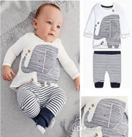 Wholesale 2015 Autumn Toddler Baby Boys Lovely Elephant Tops Striped Pants Outfit Chidlren Clothing Sets