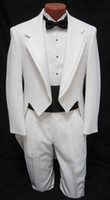Wholesale Top Quality custom suit Men s boys White Tuxedo Tailcoat Dance Costume Tux Tails Coat Bridegroom wedding suits Jacket Pants bow