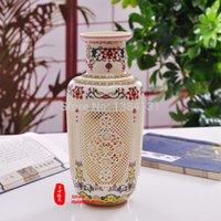 porcelain vase - China antique rose color archaize high grade tusk porcelain vase Hand carved paintings Home decor