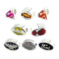 Celtic metal letters - Wholesasle mix Style silver Beads Silver Plated Super Hero Enamel Beads Charms Fit Diy European Jewelry Charm Beads Bracelets