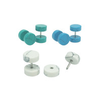Wholesale fashion men s ear studs earrings plug fake ear tapers natural turquoise stone green white blue mm fashion jewelry for men