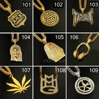hip hop chain - Hip Hop Long Necklace Alloy K Gold Plated Crystal Pendant Chain CM Cross Pharoh Pentagram Jewelry For Women Men DHL Free