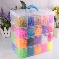 Cheap A+ quality 20000 pcs DIY 30 colors Colorful Rainbow Rubber Loom Bands 40 boxes set 4 floors