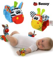 Unisex animal wrist - 2015 new arrival sozzy Wrist rattle foot finder Baby toy Infant foot Sock wrist rattles foot socks lovely baby baby gift