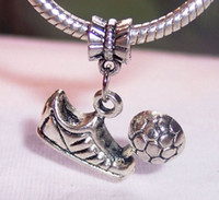 soccer jewelry - Hot Sale Antique silver Soccer Sneaker Dangle Big Hole Beads Fit Charm Bracelet Jewelry DIY x mm