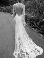 al por mayor gótica hermosa-2016 Designer Wedding Dressess Illusion Corpiño Inbal Dror Sheer Falda Vestidos de novia Lace mangas largas Beautiful Sheath Summer Hippie Gothic
