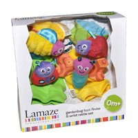 Wholesale Lamaze Garden Bugs Wrist Rattle Foot Finder Baby Set Plush baby toys Educational toy High Contrast with box L0392A