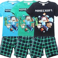 boys clothes - 2015 Minecraft Boys Suits tshirt short Sets Children Summer Cartoon Outfits Sets Boys Tracksuits Kids Sport wear Boys Clothes