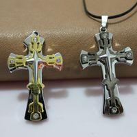 best tomahawk - Popular European cross pendant necklace retro fashion necklace titanium steel necklace men best Tomahawk Cross color mixed batch