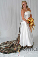 Wholesale Plus Size Camo Wedding Dresses Fashion Strapless Lace Up Designer Custom Made Satin Wedding Gowns Chapel Train Camouflage Bridal Dress