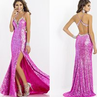 Wholesale Sparkly Fushcia Sequins Prom Dresses Halter Neck Mermaid Slit Side Beaded Bling Formal Occasion Backless Long Evening Dress Custom Made