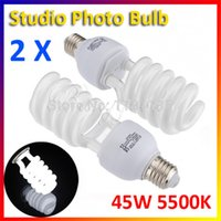 Wholesale 2pcs Photographic E27 V W K Photo Studio Daylight Bulb Video Light Lamp CFL