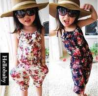 Cheap baby clothes Girl's Floral Jumpsuit Suspender Trousers Pant 100% Cotton Flower Print Kids Summer Outfit 5p l