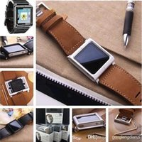 Wholesale Hot Leather Multi Touch Wrist Strap Watch Band for iPod Nano th Generation AU
