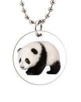 baby dog tags necklace - Baby Panda Bear Customized Colorful Design round Dog Tag Necklace Aluminum Tag