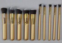 AHZS10001 professional makeup sets - one set Gold Face Makeup Brushes Set gold bars gold tube professional makeup brush sets make up tool