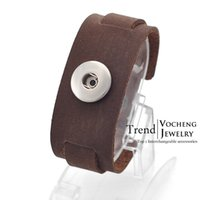 full grain leather - Vocheng NOOSA Interchangeable Trend Jewelry Top Layer Full Grain Leather Bracelet Ginger Snap on Jewelry Vb