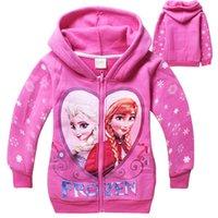Wholesale 2014 Winter Children Clothing Frozen Elsa Anna Thick Hoodies Girl Hooded Coat Kids Cotton Cardigan Jacket Children Sweatshirts J18A2C