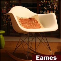 No plastic stool chair - Eames plastic side chair Eames Rocking Chair Modern Leisure Chair stools wood dining bar Chair Office Chair